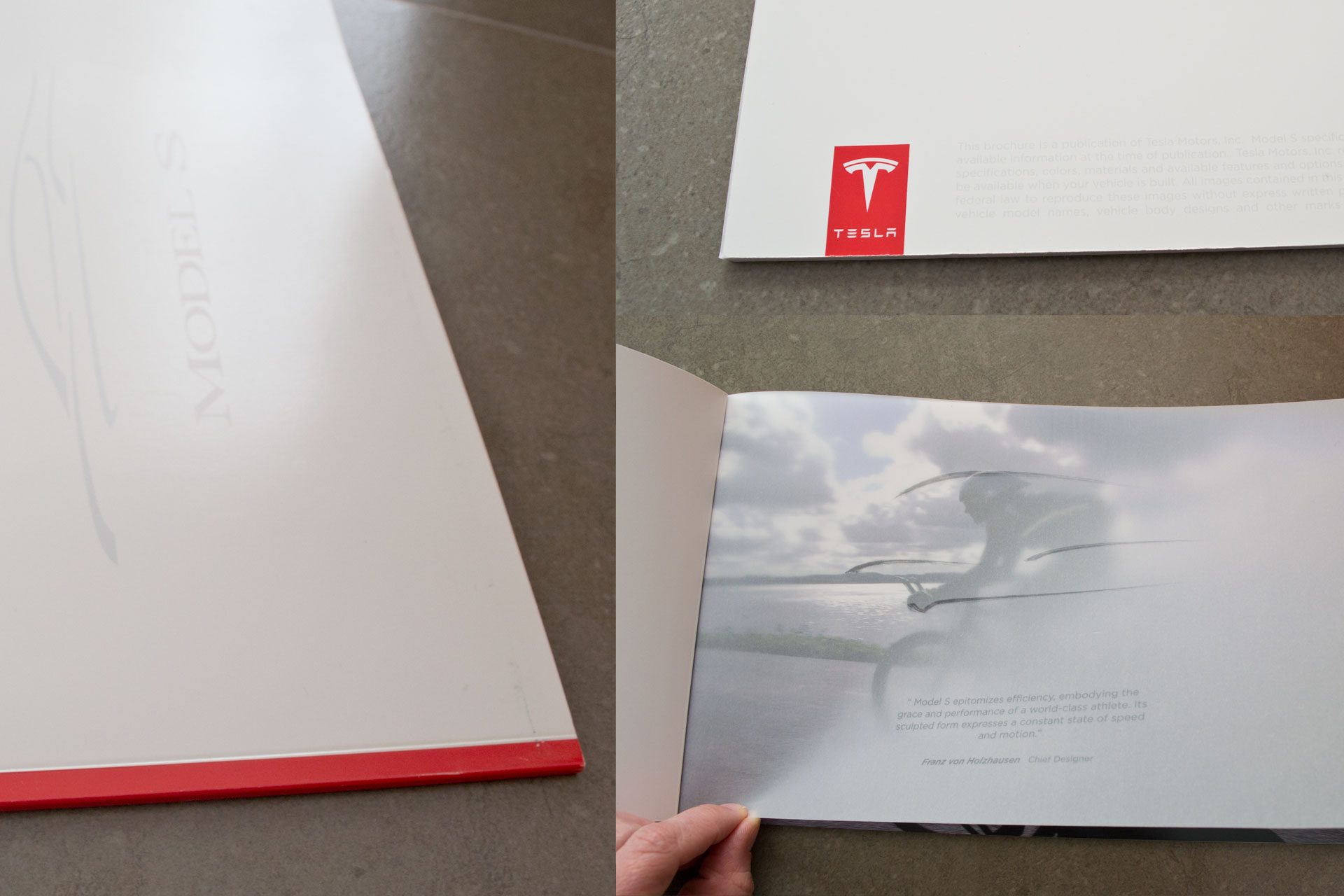 McSwell print design. Tesla Model S brochure detail and cover pages