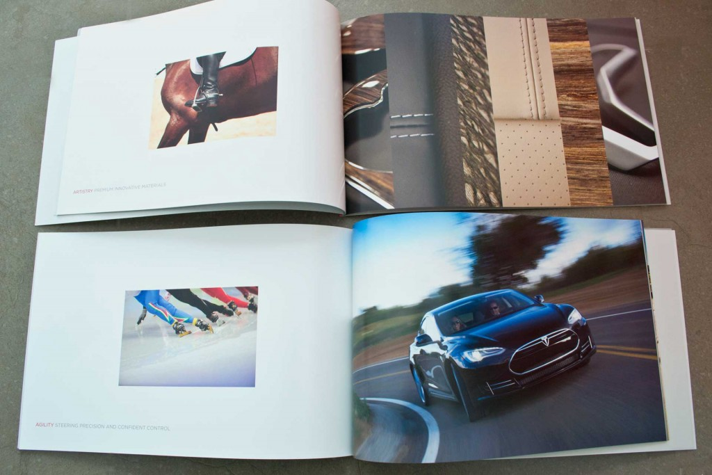 McSwell print design. Tesla Model S brochure page spread